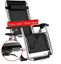 High-quality recliner Sun Lounger Patio Zero Gravity Oversize Lounger Chair, Folding Sun Loungers Outdoors Beach Supports 200kg Recliner Armchair with Cushions (Color : Silver)