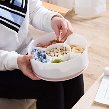 TOPBATHY Appetizer Serving Tray 5 Compartment Round Candy and Nut Serving Container with Lid Divided Plastic Dish Platter for