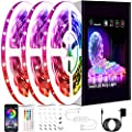 50ft Led Strip Lights, Keepsmile Smart Music Sync Color Changing Led Light Strips, Led Lights for Bedroom, Kitchen, Home Decoration, with Remote and App Control