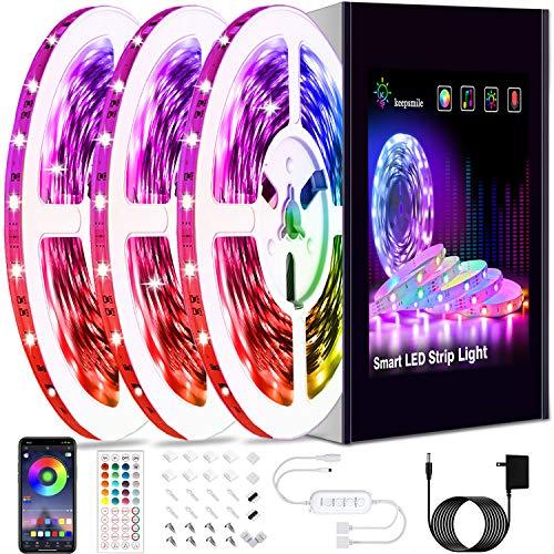 50ft Led Strip Lights, Keepsmile Smart Music Sync Color Changing Led Light Strips, Led Lights for Bedroom, Kitchen, Home Decoration, with Remote and App Control