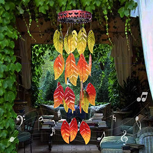 Amwgimi Windspiel mit Solar-Lichtern, Gartendekoration, bunte Herbstblätter, Outdoor-Dekoration, zum Aufhängen, Garten, Terrasse, Balkon
