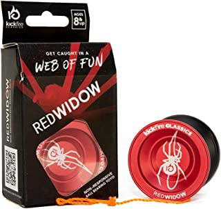 Red Widow Non Responsive Ball Bearing YoYo by KickFire Classics | Best Pro Trick Red & Black Metal | 2 Extra Poly Nylon Strings | Great Velocity & Spin | Perfect Gift for Beginners, Pros, Girls, Boys