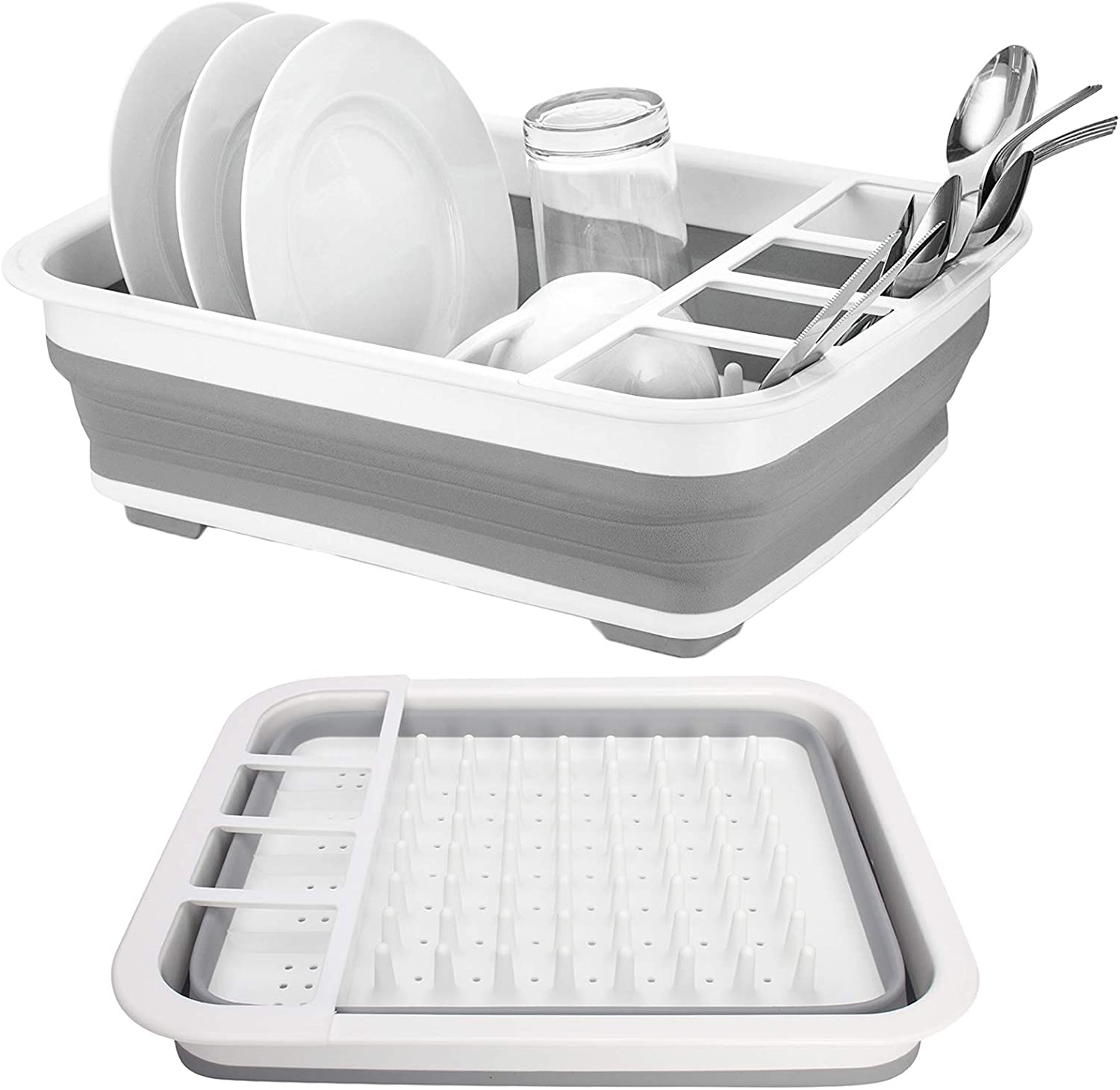 2021 new Collapsible Drying Ultra-Cheap Deals Dish Storage Rack Saving Folding Gray D Space