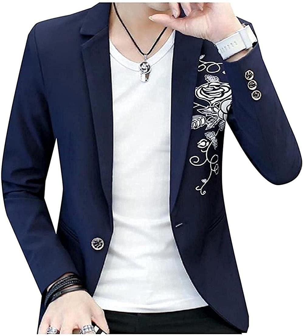 Men Embroidery Casual Designed One Button Blazer Suit