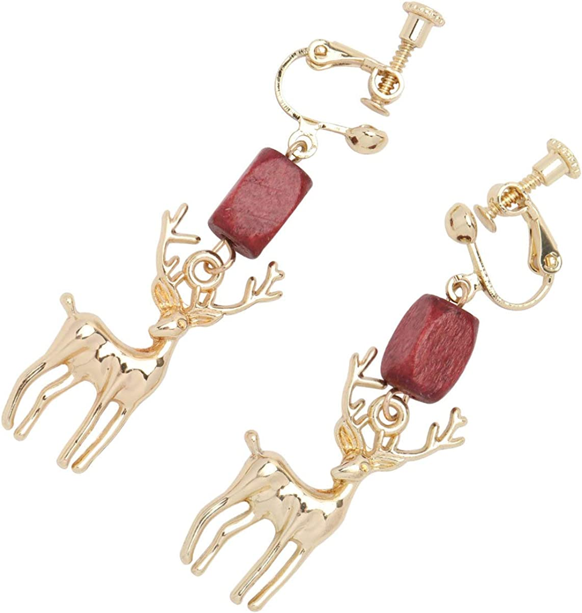 Happyyami Christmas Clip on Earrings Reindeer Jewelry for Women Holiday Gifts Style 1