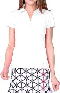 GOLFTINI New! Short Sleeve Cotton Mesh Collar Polo - White