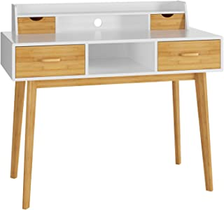 HOMECHO Writing Desk Modern Computer Laptop PC Table Wood Workstation for Home Office Student Study Room, with 4 Drawers & Storage Shelf & Bamboo Legs, 42.5