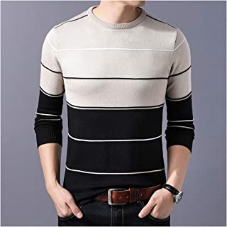 jimwili Casual Men's Sweater O Neck Striped Slim Fit Knitwear Autumn Winter Sweaters Pullovers Pullover Pull
