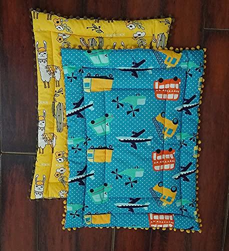 IMPEXART PVT LTD Juego de 2 mantas de bebé ligeras de algodón para bebé, color azul, con estampado supersuave y cálido para todos los 50 cm x 33 cm (azul y amarillo)