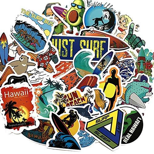 HENJIA Outdoor Surfing Stickers Summer Sports Tropical Beach Surfing Waterproof Stickers To Diy Surfboard Car Skateboard Sticker 100Pc