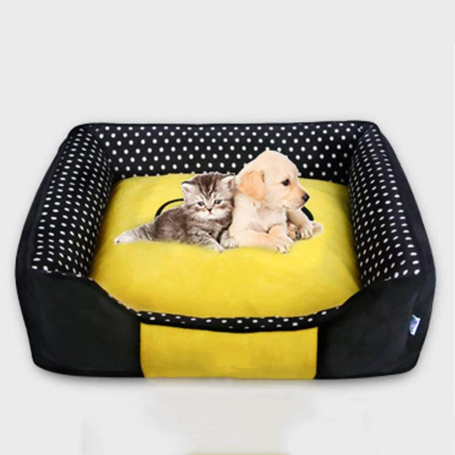 MiaoMiao Pet Dog Cat House Bed Autumn And Winter Dot Square Removable And Washable Warm Cat Litter Four Seasons Available Pet Nest,Blackm