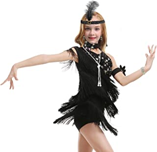 1920s Flapper Dress for Girls Sequined Child's Costume Fringe Dance Performance Dress Accessories Set (Large, Style 1 Black)