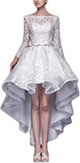 KAY&LAYLA Women's Hi-Low Lace Prom Gown Long Sleeve Wedding Dresses WD5122203