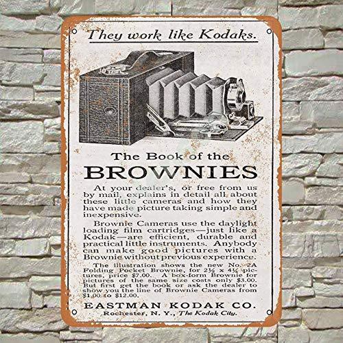 No/Brand 1910 Eastman Kodak Brownie Cameras Cartel de Chapa Metal Advertencia Placa de Chapa de Hierro Retro Cartel Vintage para Dormitorio Pared Familiar Aluminio Arte Decoración