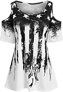 Women's Short Sleeve T Shirts, Patriotic Stripes Star American Flag Cold Shoulder Casual Blouse Top