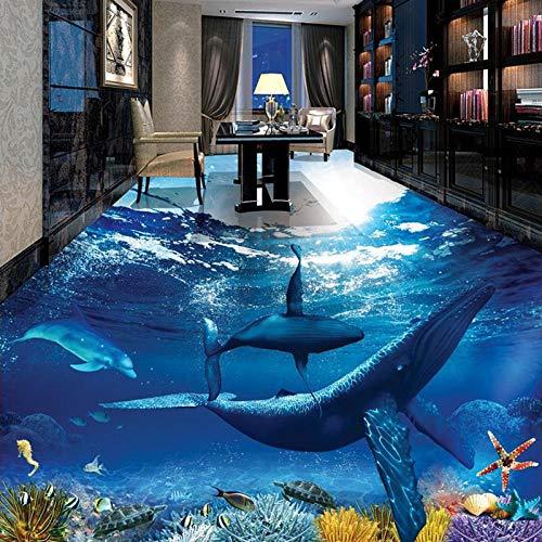 Vinylstickers voor vloeren, waterbestendig, zelfklevend, van PVC, motief Whale Dolphin onderboot, 3D-tegels voor badkamer, slaapkamer, wandposter 450cm(L)x300cm(W)
