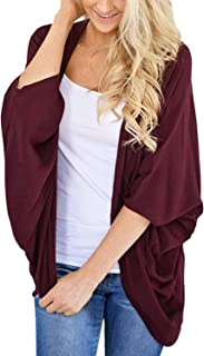 Lightweight Summer Cardigan for Women 3/4 Sleeve Solid Color Kimono Cover Up Top