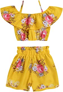 23553a8e1ebe Toddler Baby Girl Floral Halter Ruffled Outfits Set Strap Crop Tops+Short  Pants 2 PCS