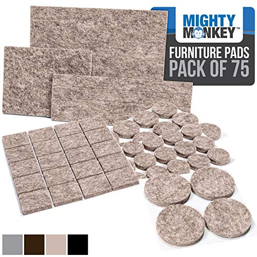 MIGHTY MONKEY Felt Furniture Gripper Pads, 75 Pack, Easy Glide, Stays on Furniture, Pad Prevents Scratches on Floors, Prescored Adhesive Strips Secure to Furniture, Heavy Duty, Protects Floor, Beige