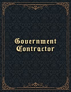 Government Contractor Job Title Vintage Design Cover Lined Notebook Journal: A4, Finance, Hourly, Hourly, To Do List, 21.5...