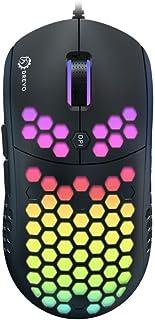 DREVO Falcon Ratón de juegos con cable liviano RGB-LED Sensor óptico 16000DPI (PixArt PMW 3389), frecuencia de informe de 1000Hz, 400IPS, cable ultra suave y revestimiento tipo panal de abeja