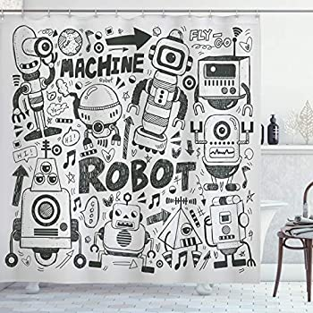 Ambesonne Robot Shower Curtain Futuristic Space Doodle Style Androids Sci Fi Pattern Fantasy Machine Art Print Cloth Fabric Bathroom Decor Set with Hooks 70  Long Charcoal