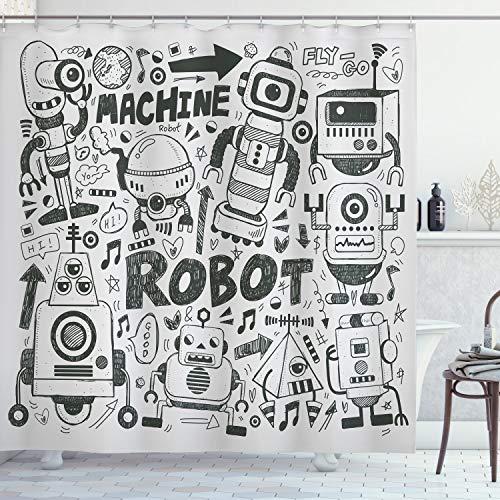 ABAKUHAUS Geek Duschvorhang, Space Geek Thema Sci Fi, mit 12 Ringe Set Wasserdicht Stielvoll Modern Farbfest und Schimmel Resistent, 175x200 cm, Hellgrau Grau