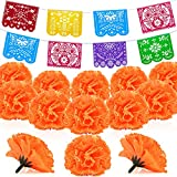 74 Pieces Artificial Marigold Flower Mexican Banners Plastic Papel Picado Banner Mexican Party Decoration Mexican Day Dead Decor for Papel Picado Fiesta, Cinco De Mayo, Mexican Independence Day