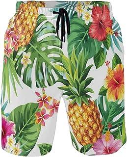 CaTaKu Tropical Ananas Palmier Floral Short de bain Short de Plage d'été Costumes Séchage Rapide Maille Doublure pour Homm...