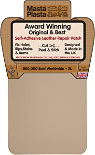 MastaPlasta Self-Adhesive Patch for Leather and Vinyl Repair, XL Plain, Beige - 8 x 11 Inch