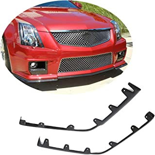 MCARCAR KIT Front Bumper Lip Splitter fits Cadillac CTS-V Coupe Sedan 2009-2015 | Customized Carbon Fiber CF Chin Upper Spoiler Vents Cover Flaps (Front Bumper Splitter 2pcs)