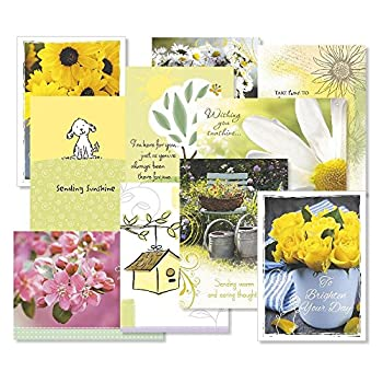 Get Well Greeting Cards Value Pack- Set of 20  10 designs  Large 5 x 7 Sentiments Inside Get Well Soon Cards Get Well Wishes Envelopes Included
