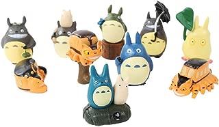 Totoro 10 Piece Figure Set Including Chu Totoro, Chibi, and Catbus