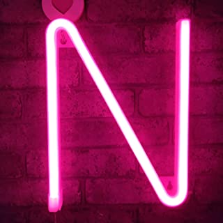 Neon Sign Letters Light Up Bar Word Sign USB Batteries Operated Marquee Letter Sign Art Wall Decor for Kids Living Room,Bar,Pub, Home,Wedding(Pink Letter)