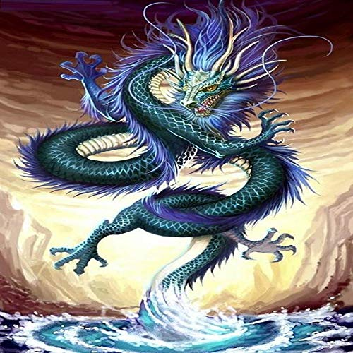 DIY 5D Diamond Painting Kits Full Drill Arts Craft Canvas Supply for Home Wall Decor Adults and Kids Square Diamond Chinese Water Dragon 12inx24in