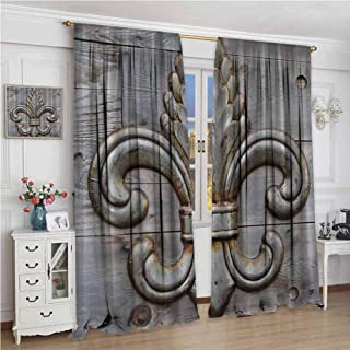 zojihouse Fleur De Lis Antiques Peacock Flower Lily Rusty Antiqued Wood Silver Medieval Door Bell French Saints Symbol Rustic Room Darkening Curtains Charcoal Blackout Draperies for Bedroom W84xL96