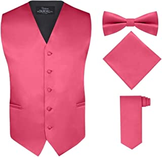 S.H. Churchill & Co. Men's 4 Piece Vest Set, with Bow Tie, Neck Tie & Pocket Hankie