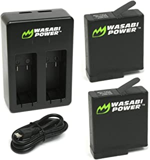 Wasabi Power Battery (2-Pack) & Double Charger for GoPro HERO6, HERO5, HERO 6, HERO 5 Black (v03 for all Firmware Updates) (2 Batteries (v03) + Dual Charger)