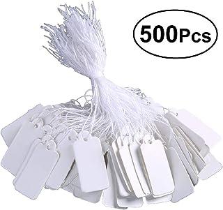Vosarea Etiquetas de marca blanca Etiquetas de precio Etiquetas de precio Etiquetas de exhibición con cadena colgante, paquete de 500