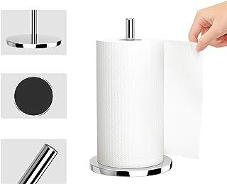 Paper Towel Holder, Heavy Weighted Simple Tear Paper Towel Holder Stand Dispenser for Kitchen, Sliver