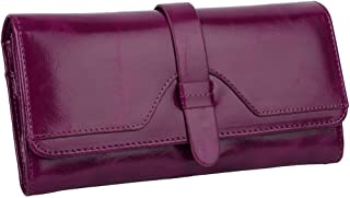 YALUXE Women's RFID Blocking Security Leather Trifold Wallet Ladies Travel Clutch Fuchsia