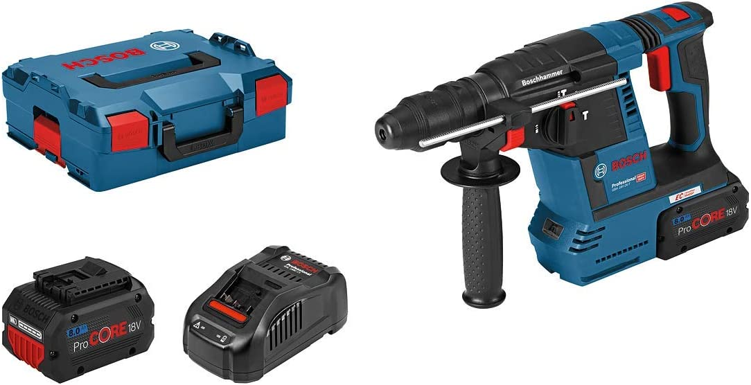 Bosch Professional GBH 18V-26F - Martillo perforador a batería (18V, 2,6J, Ø máx. 26 mm, SDS plus, 2 baterías 5,5Ah ProCORE18V, cargador, en L-BOXX)