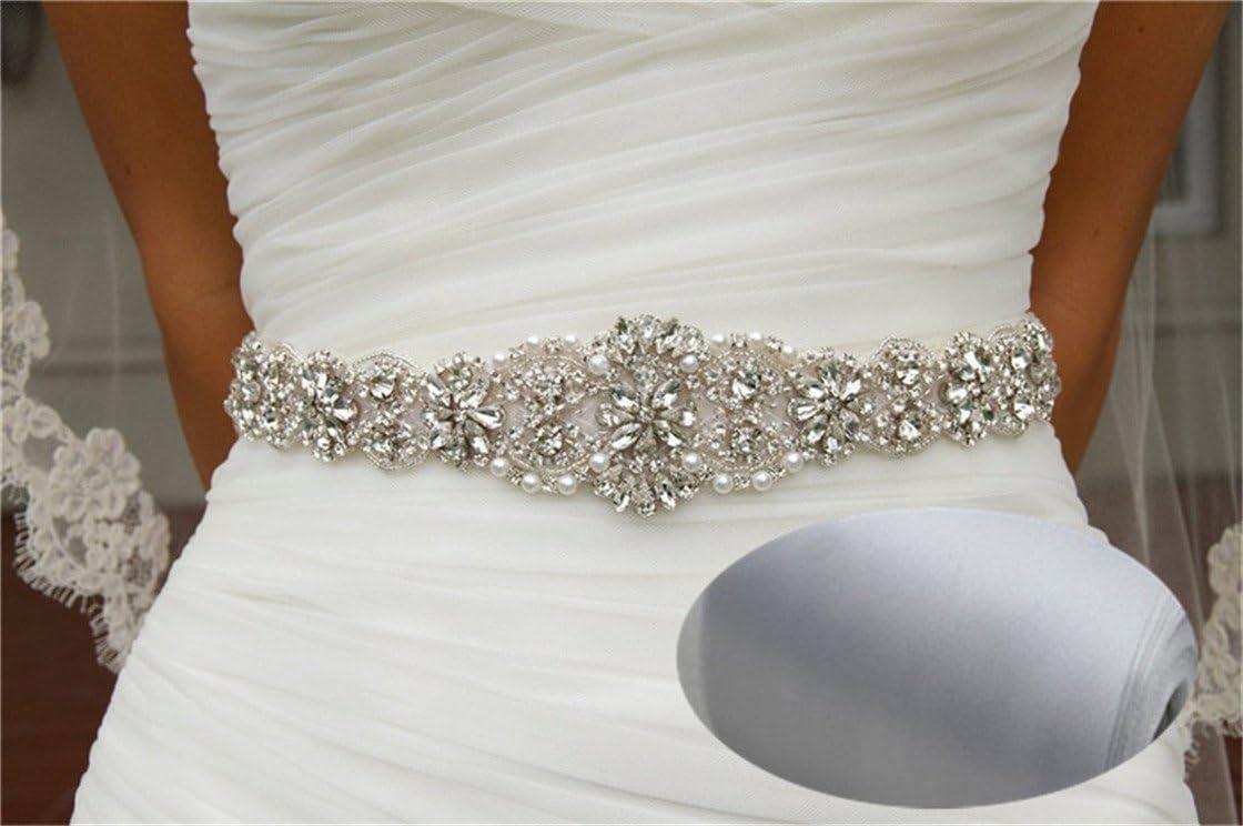 Cinturón nupcial San Bodhi. Cinturón con cristales para bodas, banda de estrás entrelazado