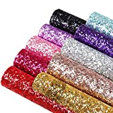 RAMYA 10Color Glitter Sequined Leather Fabric, Artificial Leather Sheets (7.8 'X 6.2'), Thick Canvas Back Crafts in Various Colors, Suitable for Making Bows, Earrings (10 Colors)