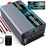 FLAMEZUM Pure Sine Wave Power Inverter 2000Watt 12V DC to 110V/120V with Remote Control 4 AC Outlets and Dual USB Ports for CPAP RV Car Solar System Emergency