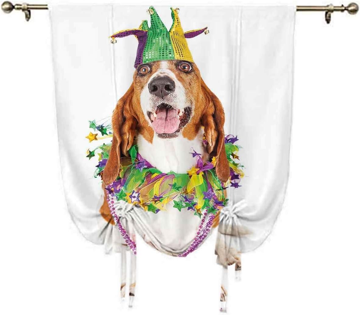 Mardi Gras Small Window New mail order Curtain Happy Hound Smiling W Basset Fresno Mall Dog