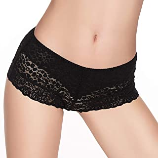 Eve's Temptation Women Lily Everyday Mid-Waist Panties Lace Slimming Tummy Control Underwear Full Coverage Boyshorts