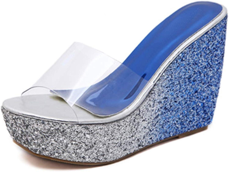U-MAC Women High Heel Wedge Platform Sandals Charming Summer Ladies Slip On Slippers Outdoor Walking Beach Dress shoes
