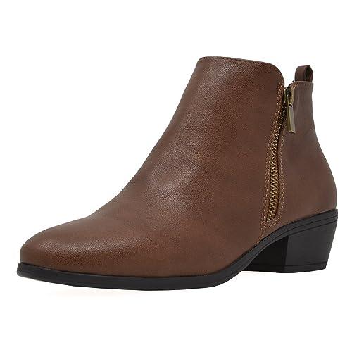 a49ff8ebe32f1 TOETOS Women's Cowboy Block Heel Side Zipper Ankle Booties