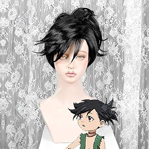 Dororo Hyakkimaru Short Black Ponytail Clip Hair Cosplay Disfraz Pelucas + Peluca Gratis